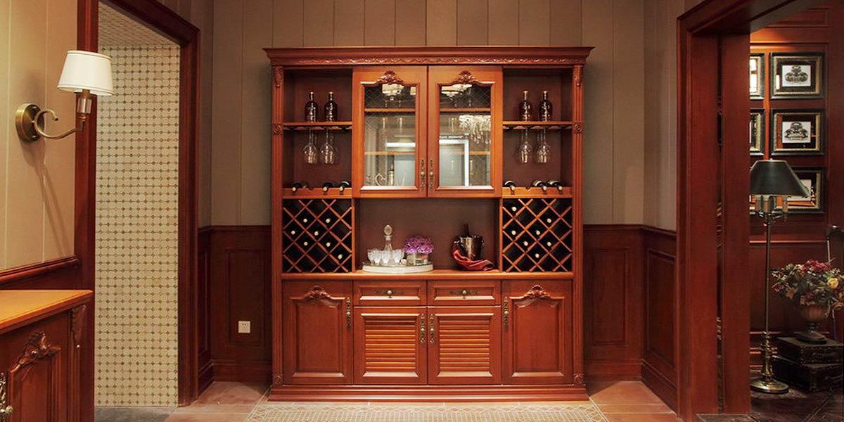 2014 OPPEIN Cherry Wood Wine Cabinet JG61412