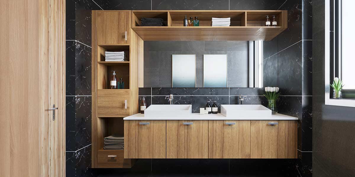 2019 Functioanal Wood Grain Bathroom Cabinet PLWY19071A