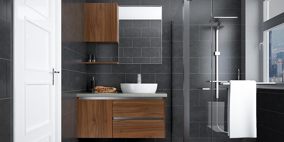 Wood grain color Melamine bathroom cabinet BC16-HPL02