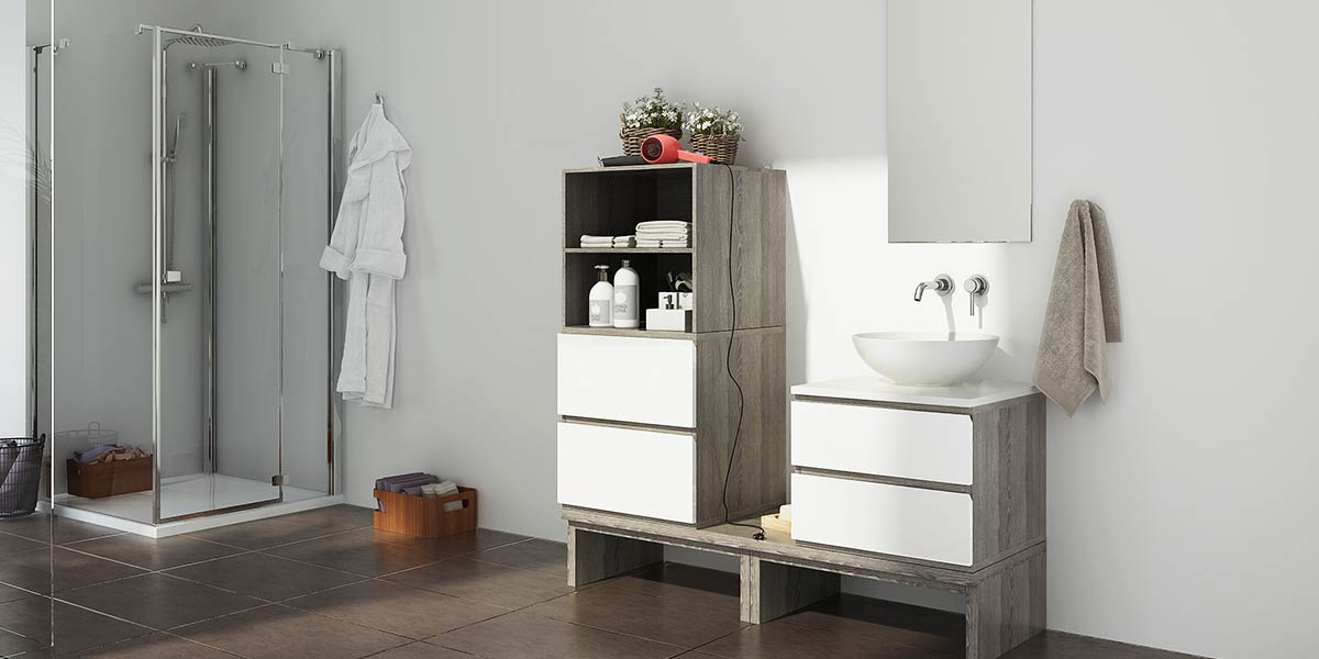 Grey Laminate Free Standing Bathroom Cabinet BC18-HPL01