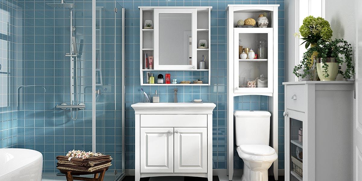 White Matte Lacquer Bathroom Cabinet BC17-L01