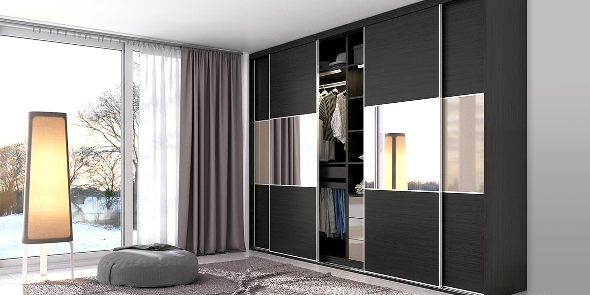 Black Laminate Sliding Wardrobe YG17-HPL02