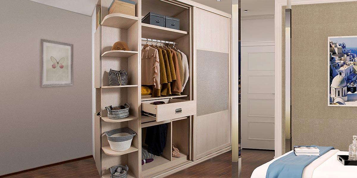 Sliding Wardrobe with Open Shelving PLYT17017-059