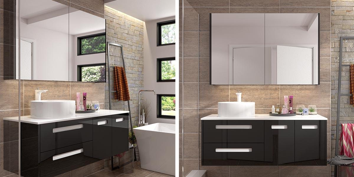 Black Lacquer Mirrored Bathroom Cabinet, Black Mirrored Bathroom Cabinet