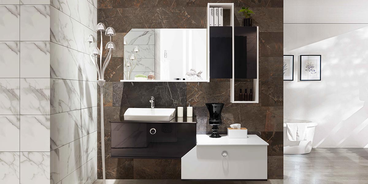 Modern White and Black Lacquer Bathroom Vanity OP17-095