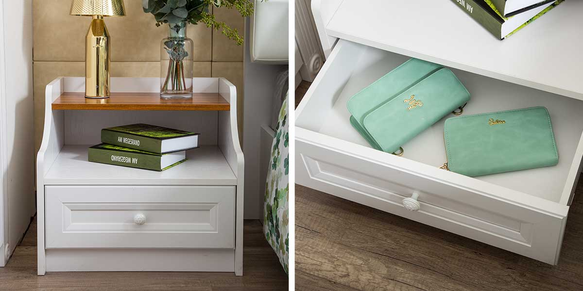 Traditional White PVC Bedside Table CT0491605