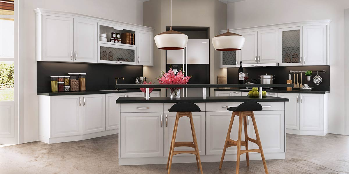 Simple European Style of White Kitchen Cabinet OP16-PVC07
