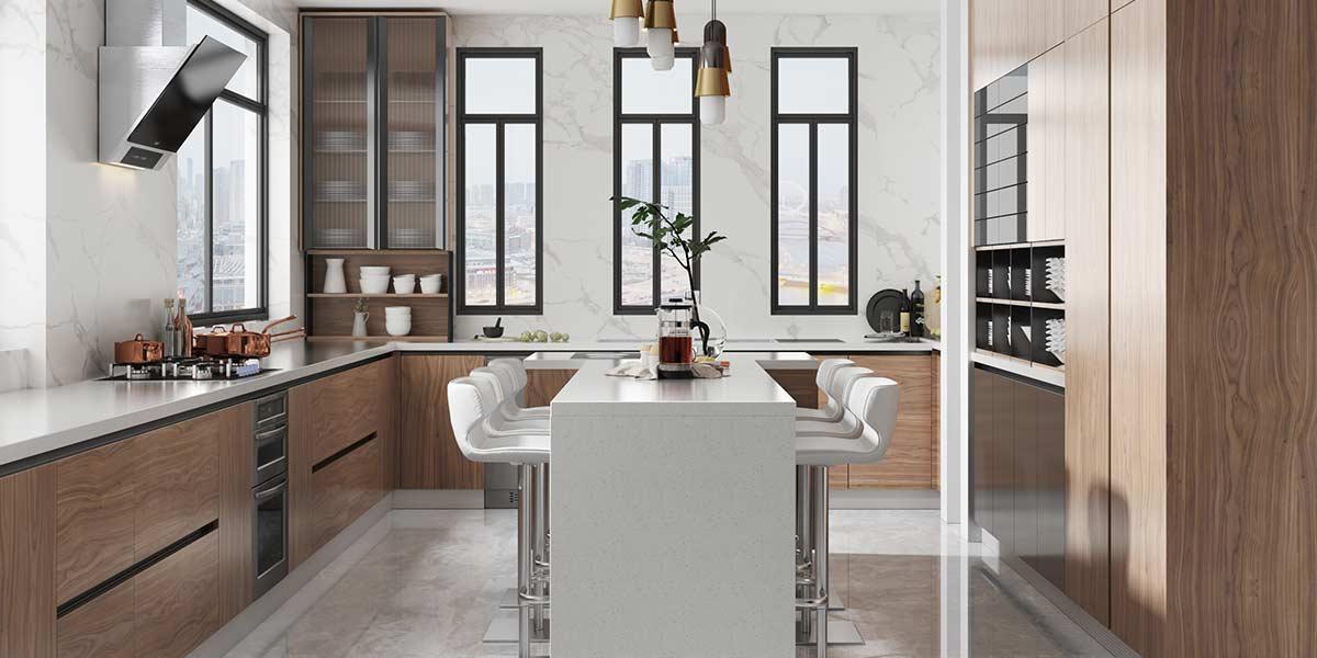 Comtemporary Wood Veneer Kitchen Cabinet With Island OP20-018