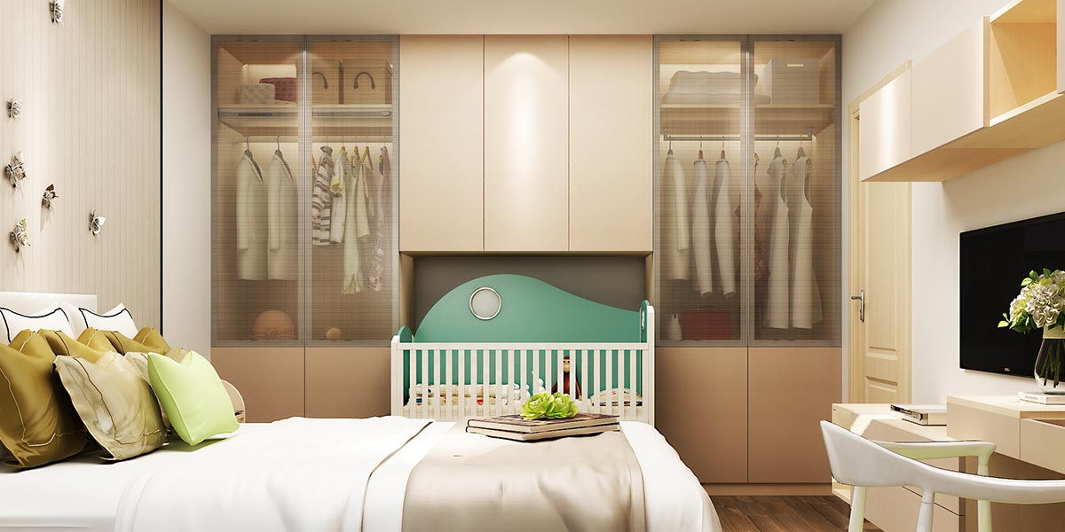 Hinged Wardrobe with Built-in Baby Crib PLYP17012-059