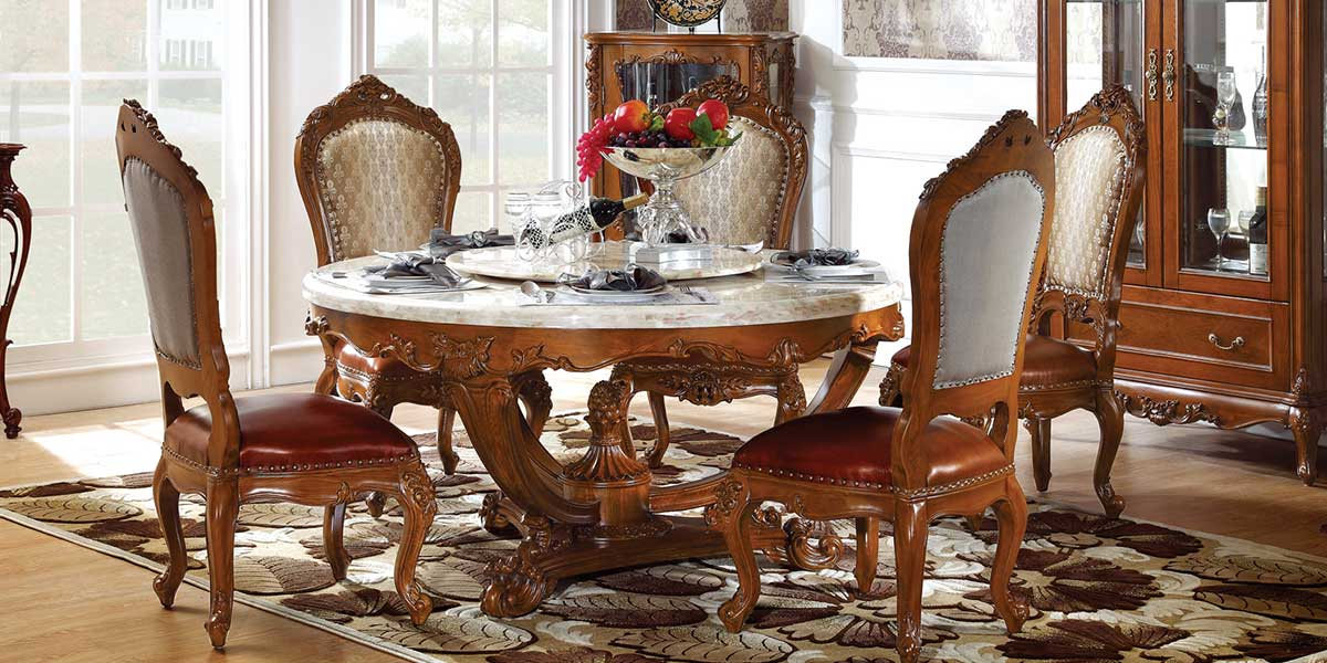 OT-0314066: French Style Marble Round Dining Table With Carving