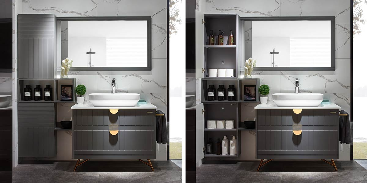 Gray Lacquer Bathroom Cabinet PLWY17079