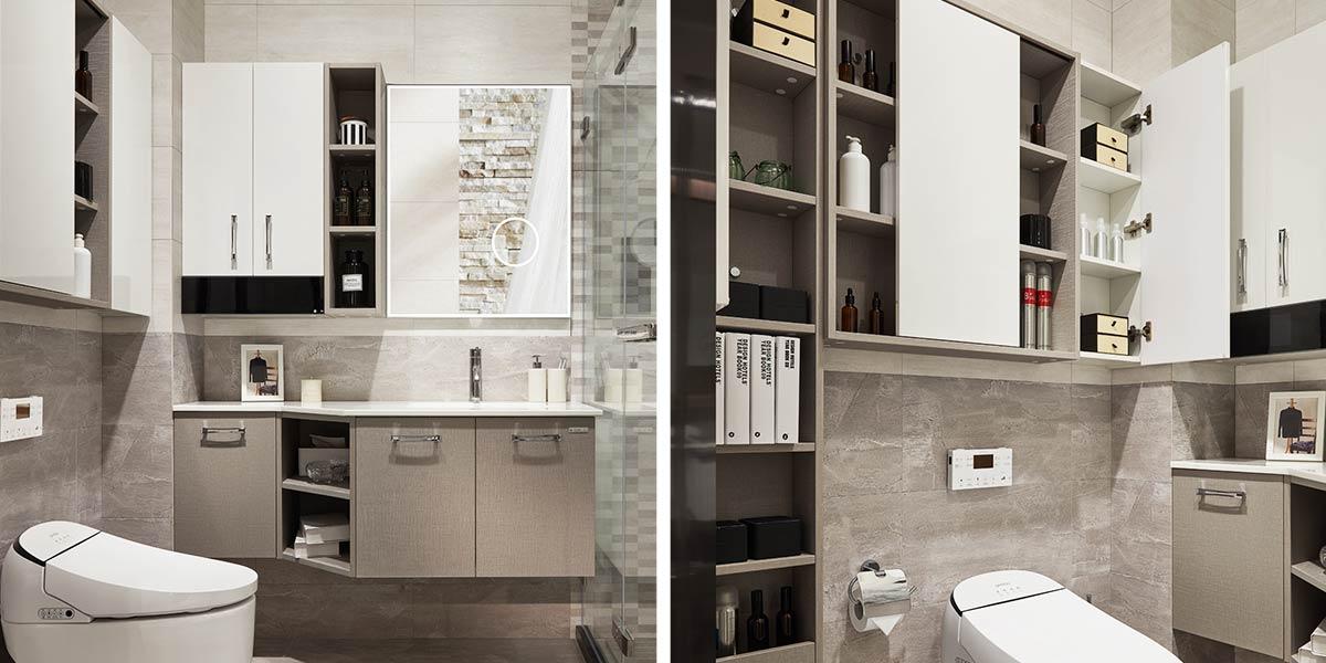 Gray Laminate Wall-Mounted Bathroom Vanity PLWY17054