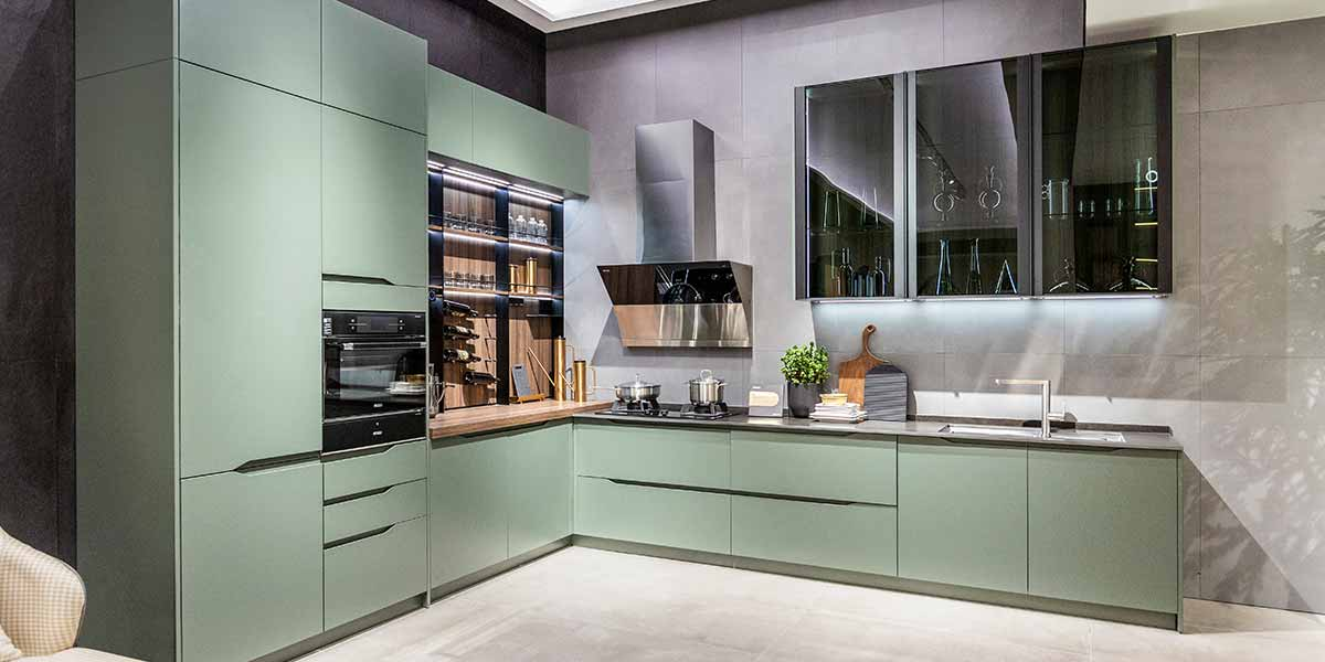 Green Lacquer Kitchen Cabinet with Handleless Design PLCC20032