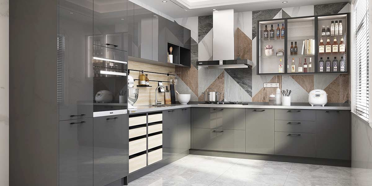 Grey Modern Glossy UV Lacquer Kitchens with an L-shaped Design PLCC20106