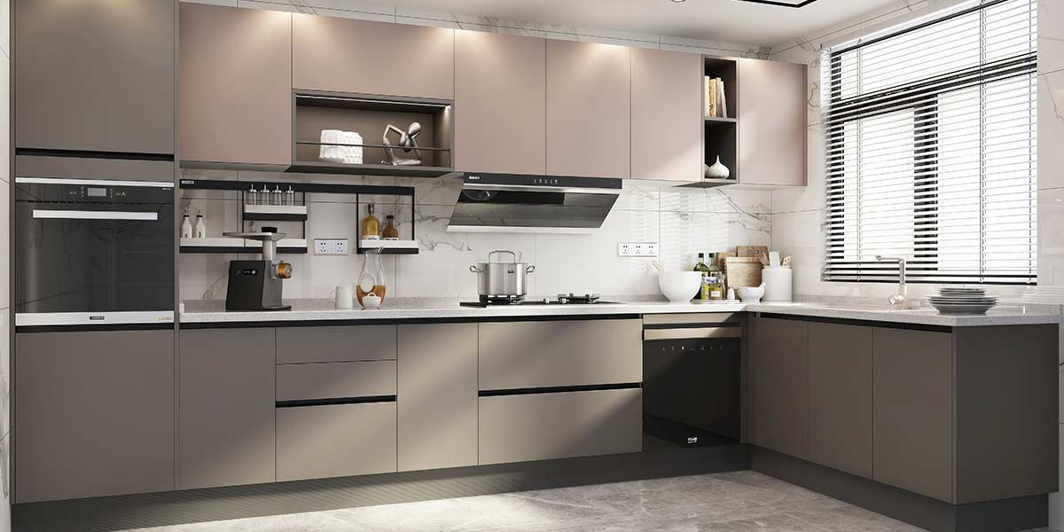 Handleless Modern Grey Melamine Kitchens With Simple Designs OP20-M04