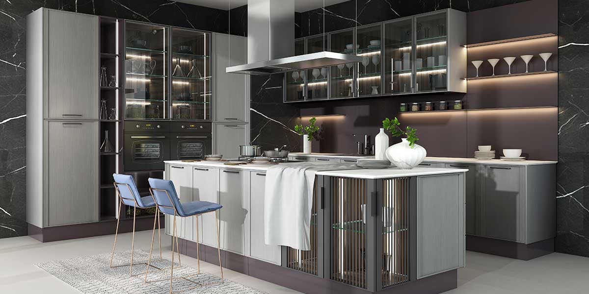 High-end Contemporary Solid Wood & Lacquer Kitchen Cabinet PLCC20006