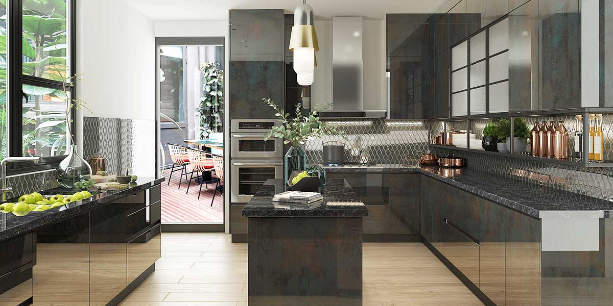 High-end Modern Kitchen Cabinet in UV Lacquer Finish OP20-UV03