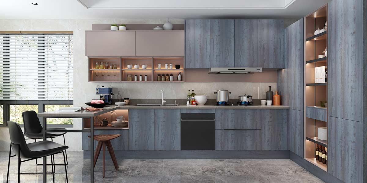 L-shaped Wood Grain Melamine Kitchen Cabinet PLCC20075