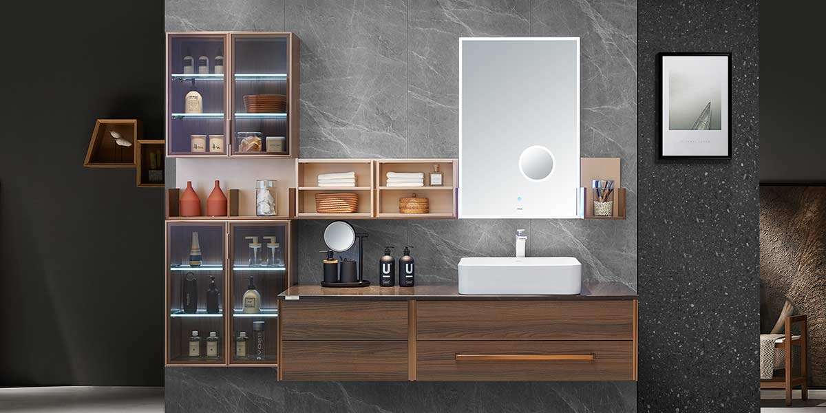 Large Size Melamine Open Design Bathroom Cabinet PLWY19070
