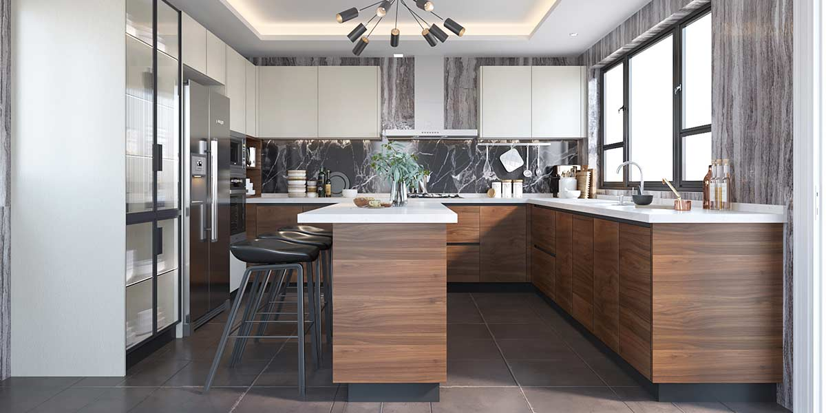 Large Wood Grain&White Melamine Kitchen With Island OP19-M03