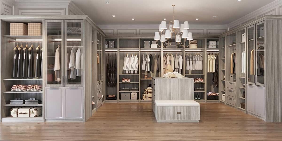 Luxury Grey Melamine Walk In Closet YG19-M02