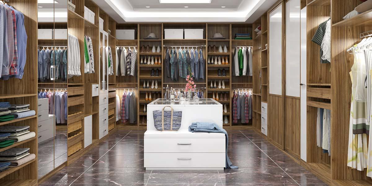 Luxury Villa Wood Grain Walk-in Closet Design YG16-M08