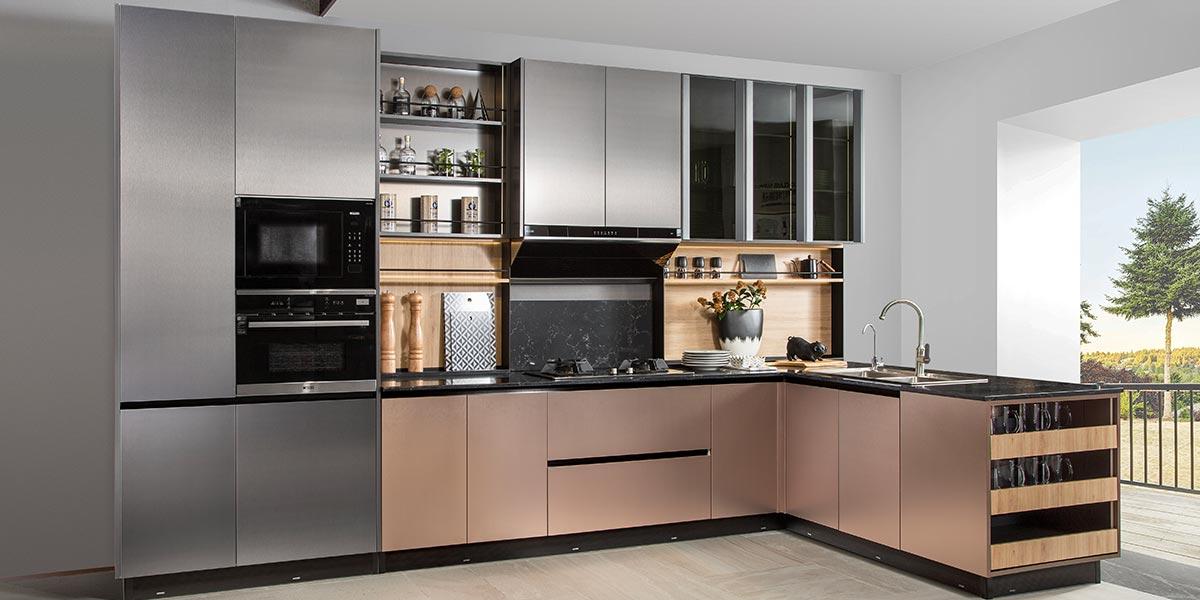 Metal Laminate Handless Kitchen PLCC19008