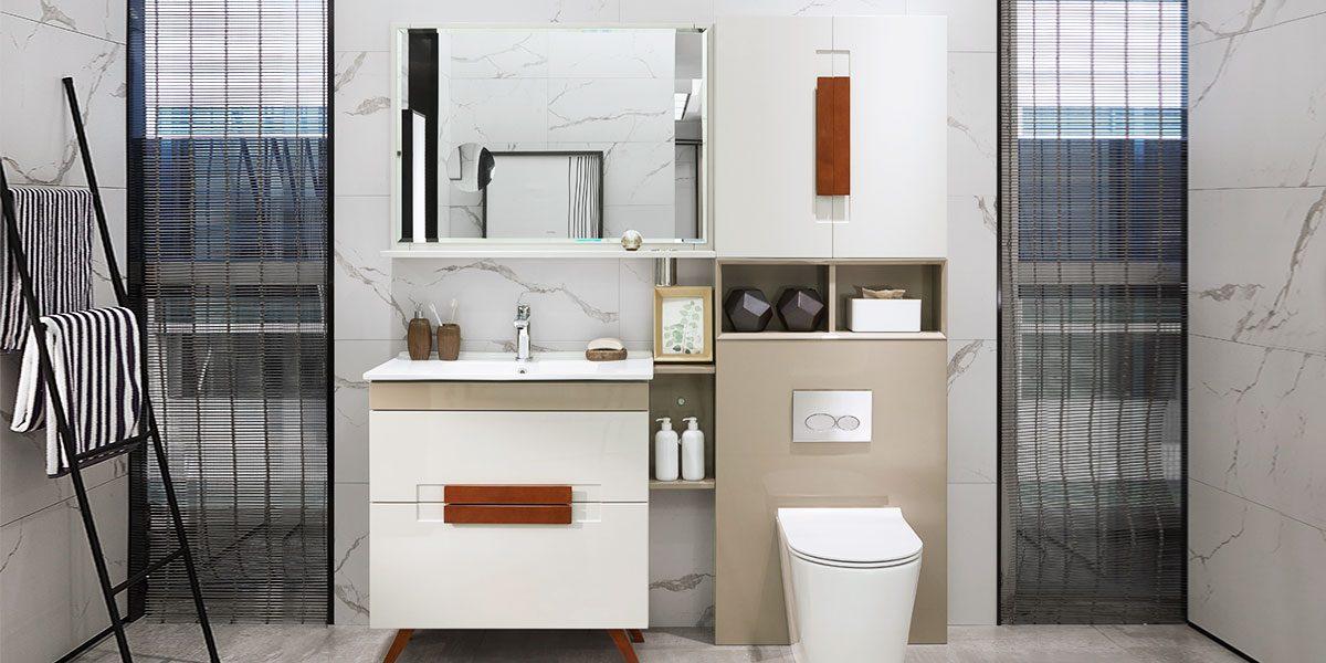 Modern White Lacquer Bathroom Vanity PLWY18024