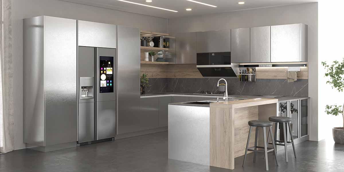 Modern Intelligent Wood Tone Silver Laminate Kitchen Cabinet PLCC20102
