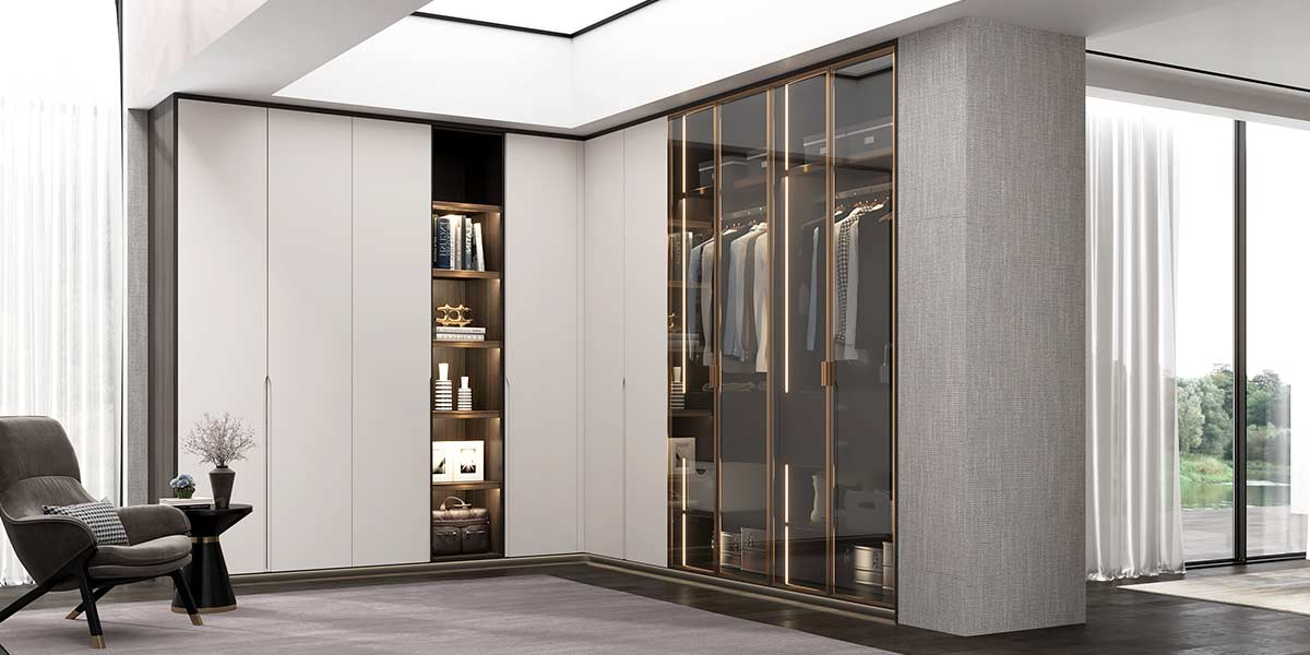 Modern L-shaped Wardrobe with Glass Door Design YG20-L01