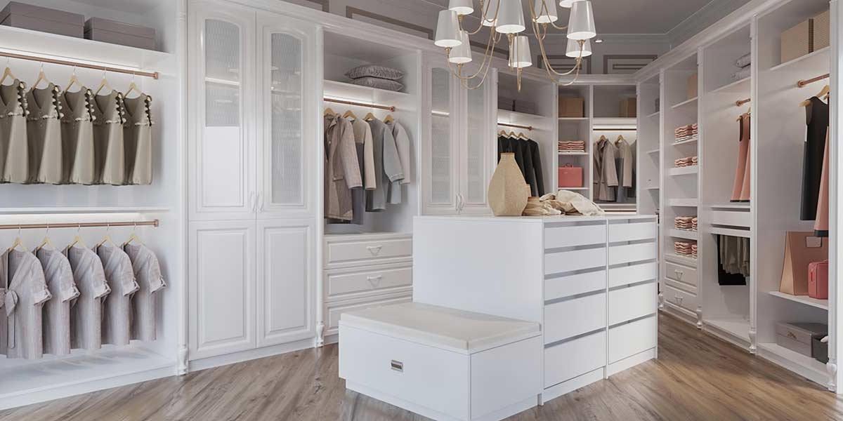 Modern Large White Lacquer Walk In Closet YG19-L01