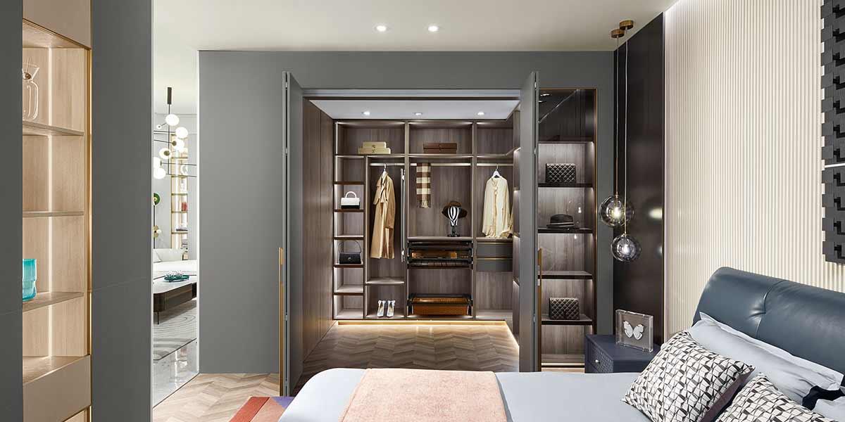 Modern Luxury Wood Grain Walk-in Closet PLYJ20010-104