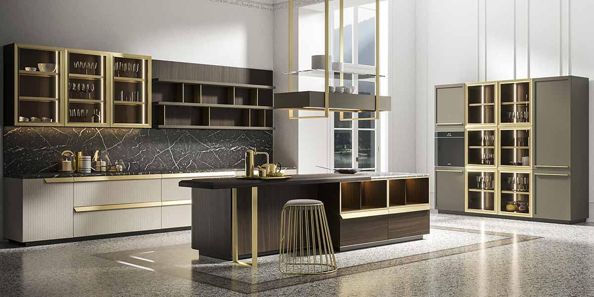 Modern Matte Lacquer Kitchen Design with Golden Handles PLCC20087