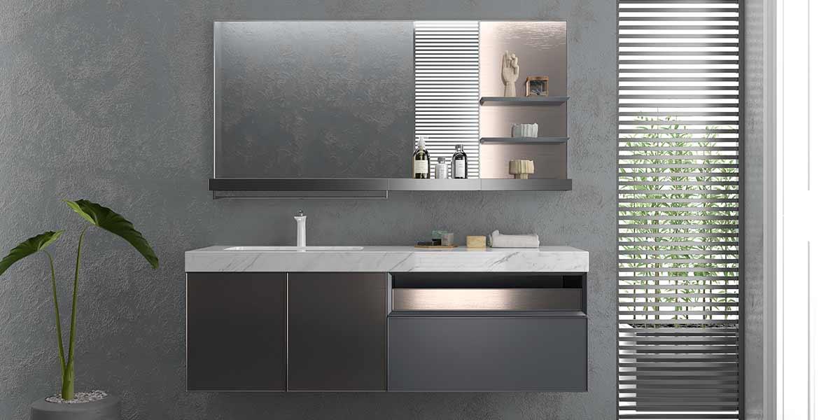 Modern Minimalist Lacquer Bathroom Cabinet PLWY20061