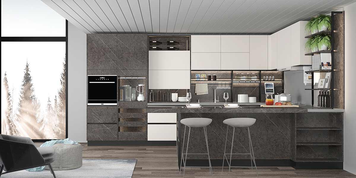 Modern Two-Tone Lacquer Kitchen Cabinet PLCC20108