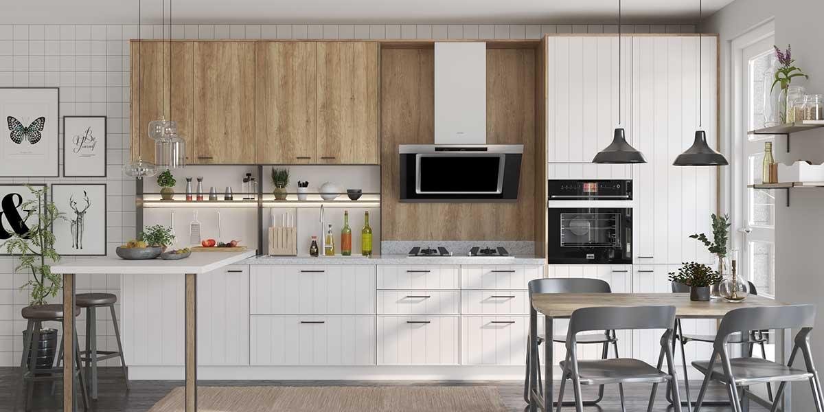 Modern White & Wood Tone Kitchen Cabinet PZCC20066