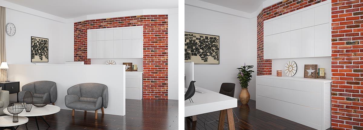 Modern White and Wood Grain Villa Home Furniture OP16-Villa02