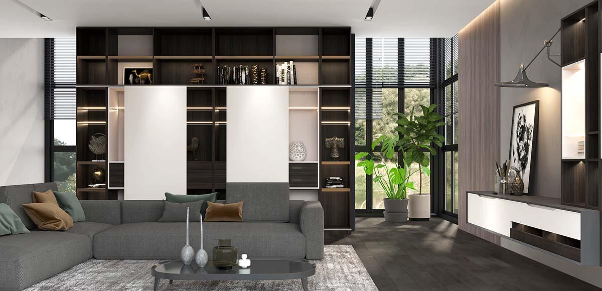 Modern Wood Grain House Design With Glass Doors OP20-HS02