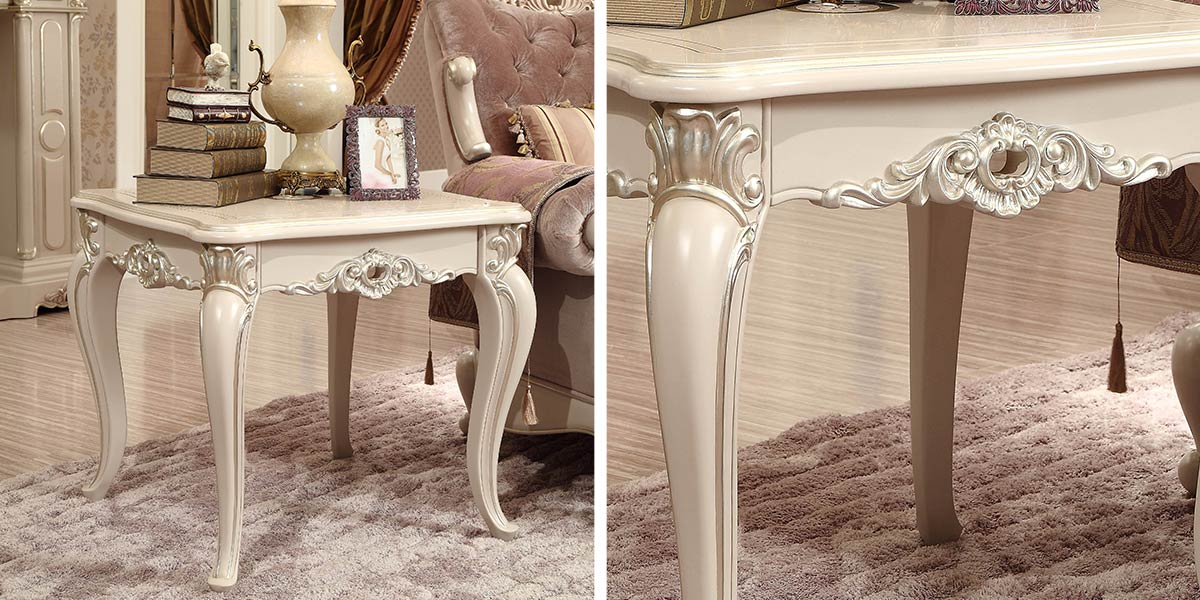 OC-0314002 : French style wooden carved end table