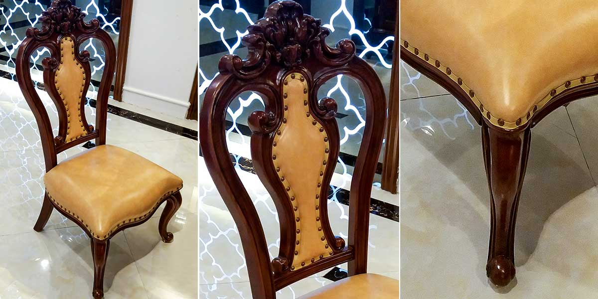 OL-0314075: French Style Brown Color Leather Covered Dining Chairs