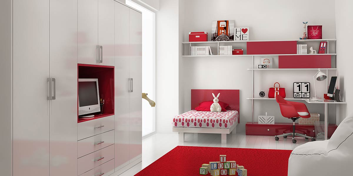 OP16-KID04: Romantic and Vital Style Bedroom for 10 Years' Old Girl