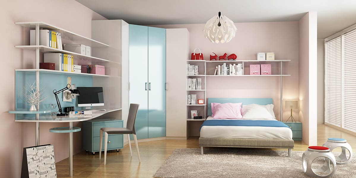 OP16-KID05: Contemporary Bedroom in Blue for 10 Years's Old Child