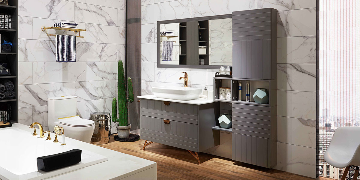 Grey Bathroom Cabinet with Large Storage OP17-079