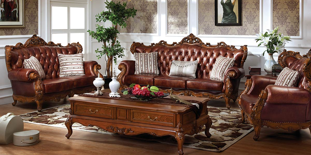 European Style Dark Color Nature-Textured Leather Sofa OS-0314033