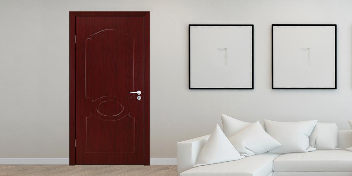Modern Dark Wood Grain PVC Hinged Door P603