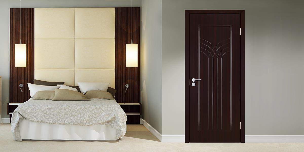Modern Black Wood Grain PVC Hinged Door P604