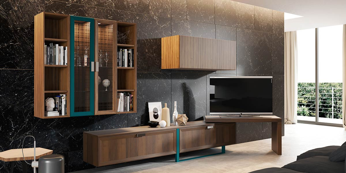 Wood Grain PVC and Blue Lacquer TV Cabinet PLTV17007-056