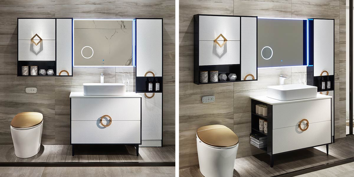 White Matte Lacquer Bathroom Cabinet PLWY18027