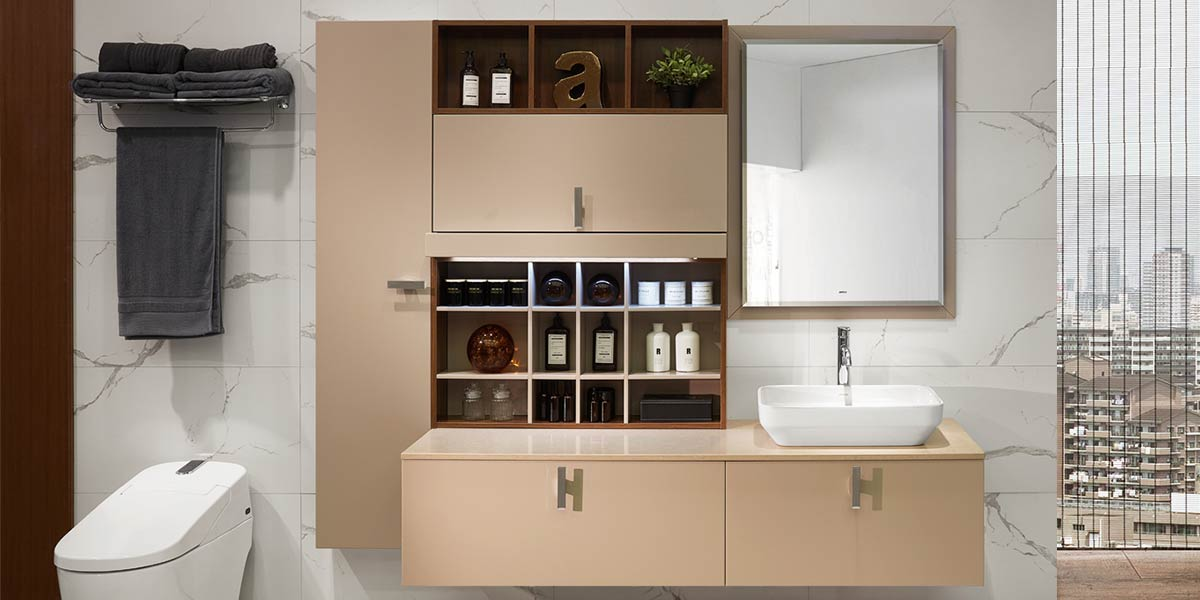 Beige Lacquer Wall-Mounted Bathroom Vanity PLWY18161