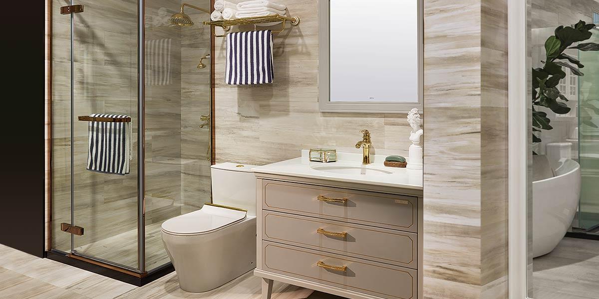 Beige PVC Bathroom Vanity with Legs PLWY18170